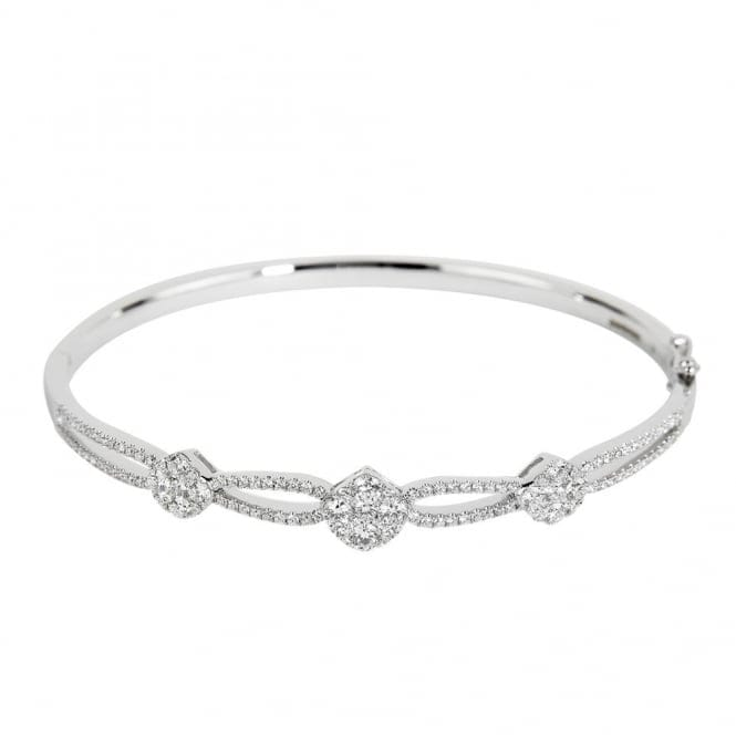 Berrys 18ct white gold diamond cluster set crossover bangle