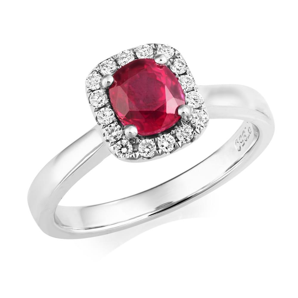 Berrys platinum cushion shape ruby diamond cluster ring
