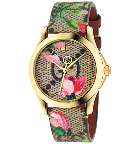 Time to bloom: the Gucci G-Timeless 38mm Yellow Gold PVD Blooms watch