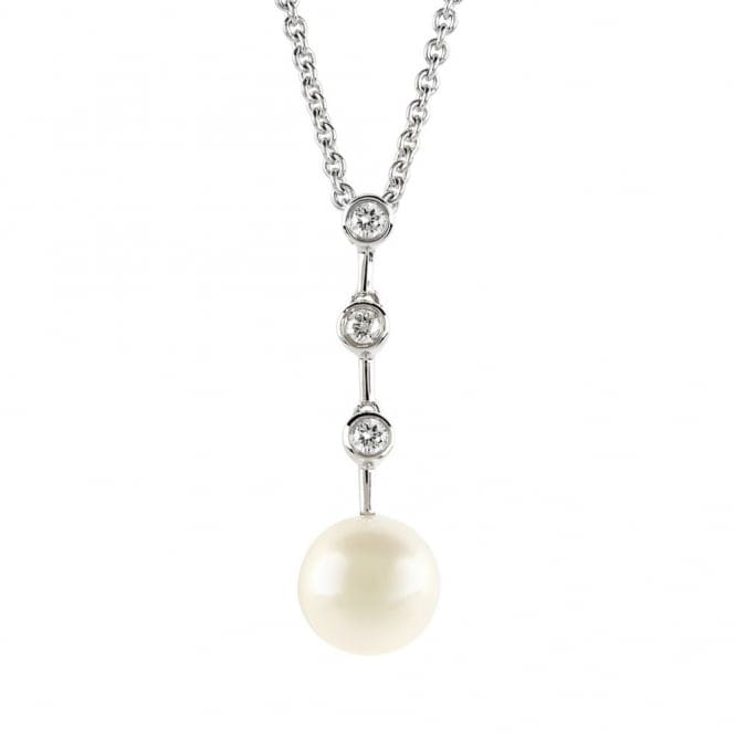 Berrys 18ct white gold fresh water pearl and diamond drop necklace