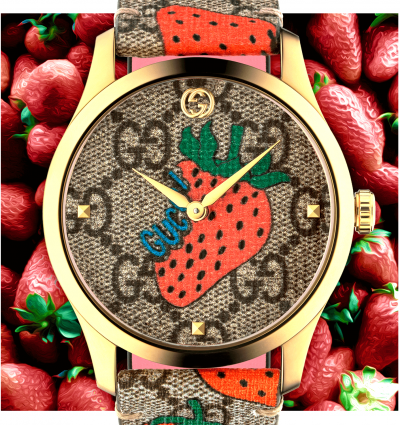 WOTW: Gucci G-Timeless 38mm Yellow Gold PVD Strawberry Print Watch