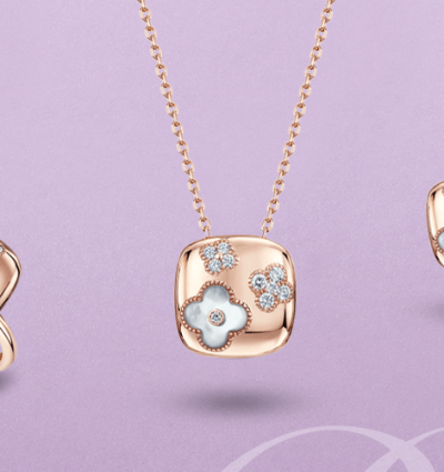 Berry's Moments: 18ct Rose Gold Diamond & Mother of Pearl Floral Matching Set