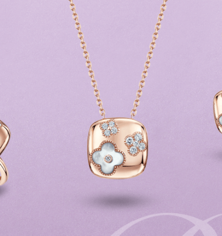 Berry's Showcase: 18ct Rose Gold Diamond & Mother of Pearl Floral Matching Set