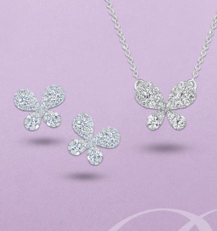 Berry's Showcase: 18ct White Gold Pave Set Diamond Butterfly Matching Set