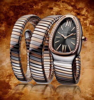 WOTW: Bvlgari Serpenti Two-Tone 35mm Black Dial & Double Spiral Bracelet Watch
