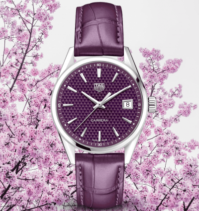 WOTW: TAG Heuer Carrera 36mm Purple Dial & Leather Strap Ladies Watch