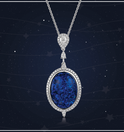 Berry's Showcase: Berry's 18ct White Gold Opal and Diamond Drop Pendant