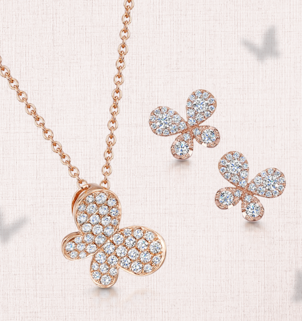 Berry's Showcase: 18ct Rose Gold Diamond Pave Butterfly Pendant and Earrings