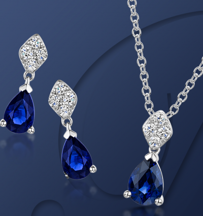 Berry's Showcase: Berry's 18ct White Gold Pear Cut Sapphire Drop Pendant and Earrings