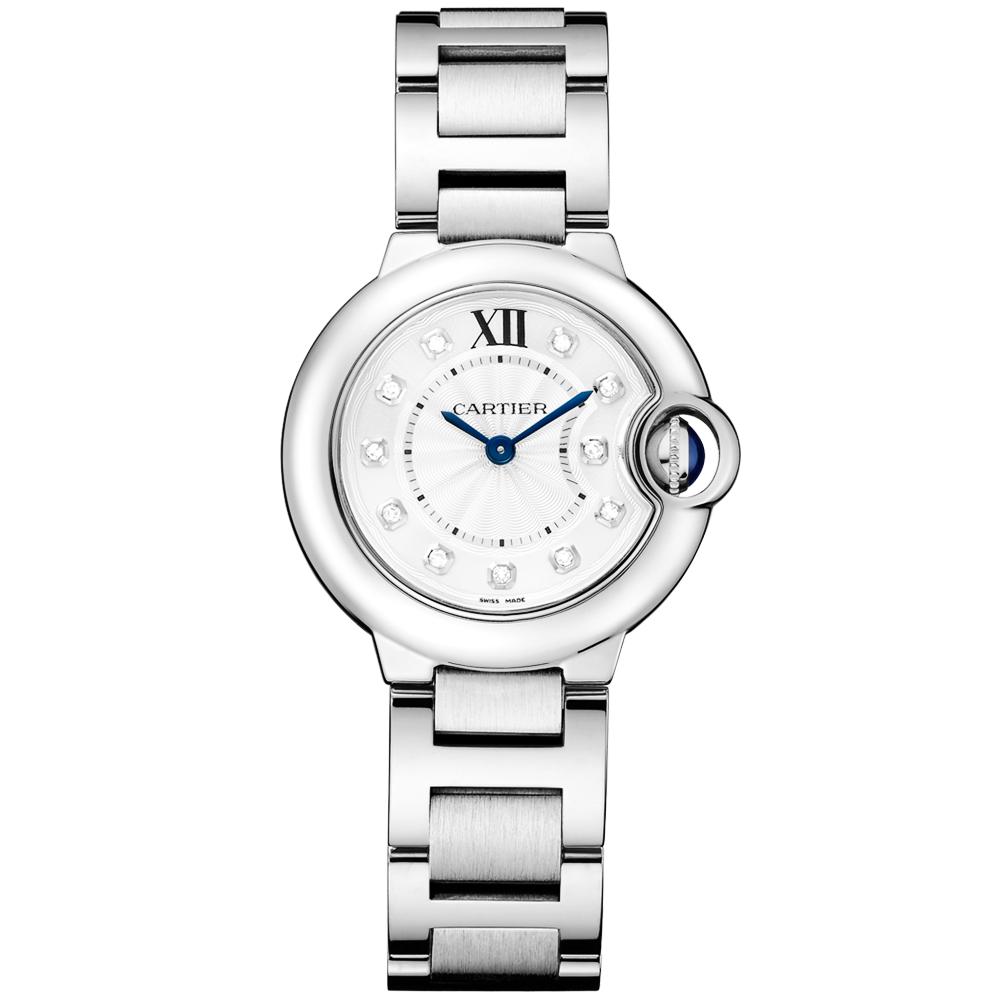 e4028eabaa8 Cartier Ballon Bleu 28mm Steel   Diamond Dial Ladies Bracelet Watch