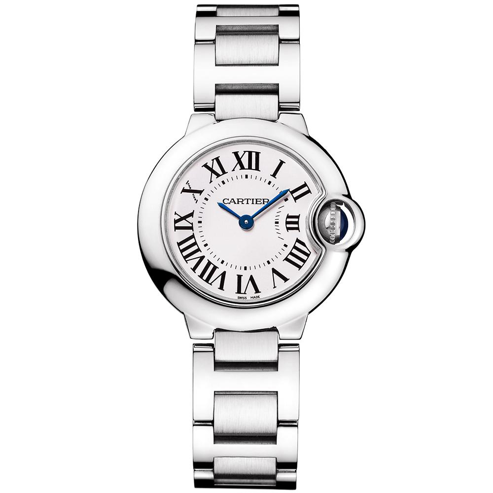 55b1571d592 Cartier Ballon Bleu 28mm Steel Ladies Bracelet Watch W69010Z4
