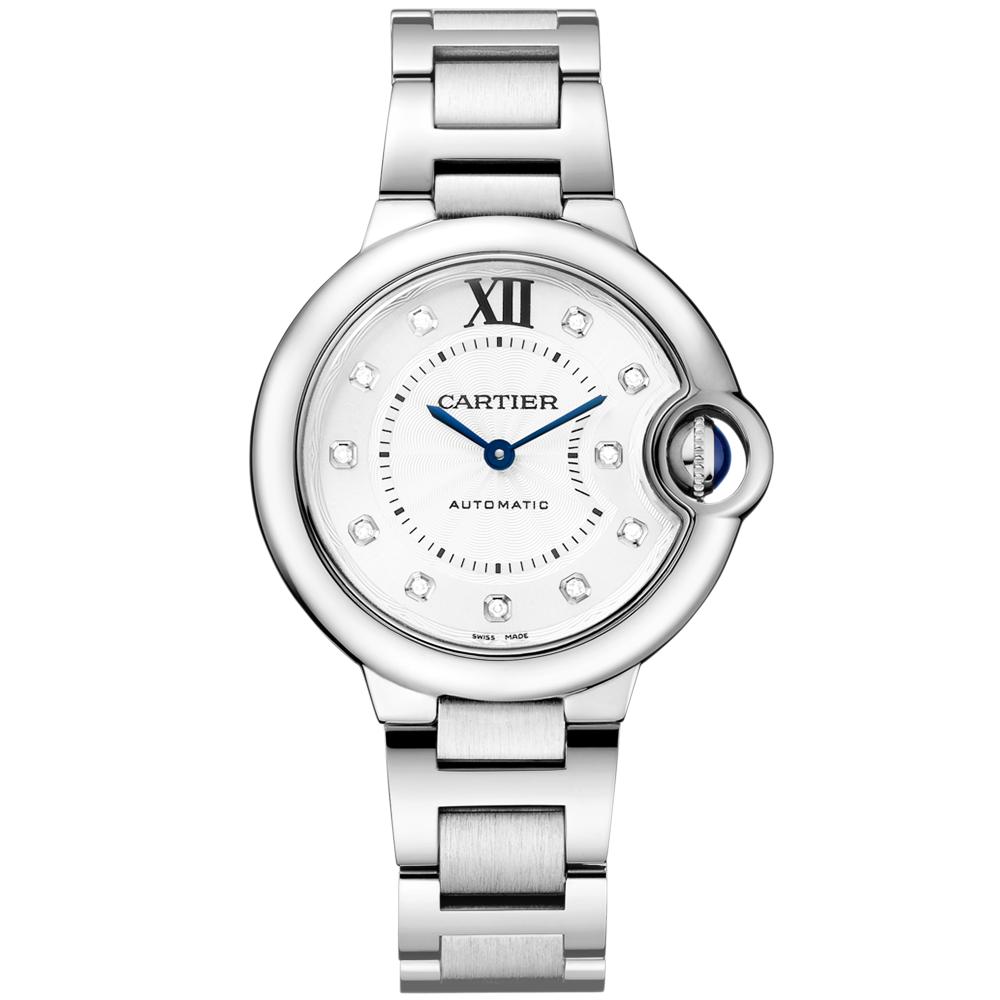 d4bc1102359 Cartier Ballon Bleu 33mm Diamond Dial Ladies Automatic Bracelet Watch