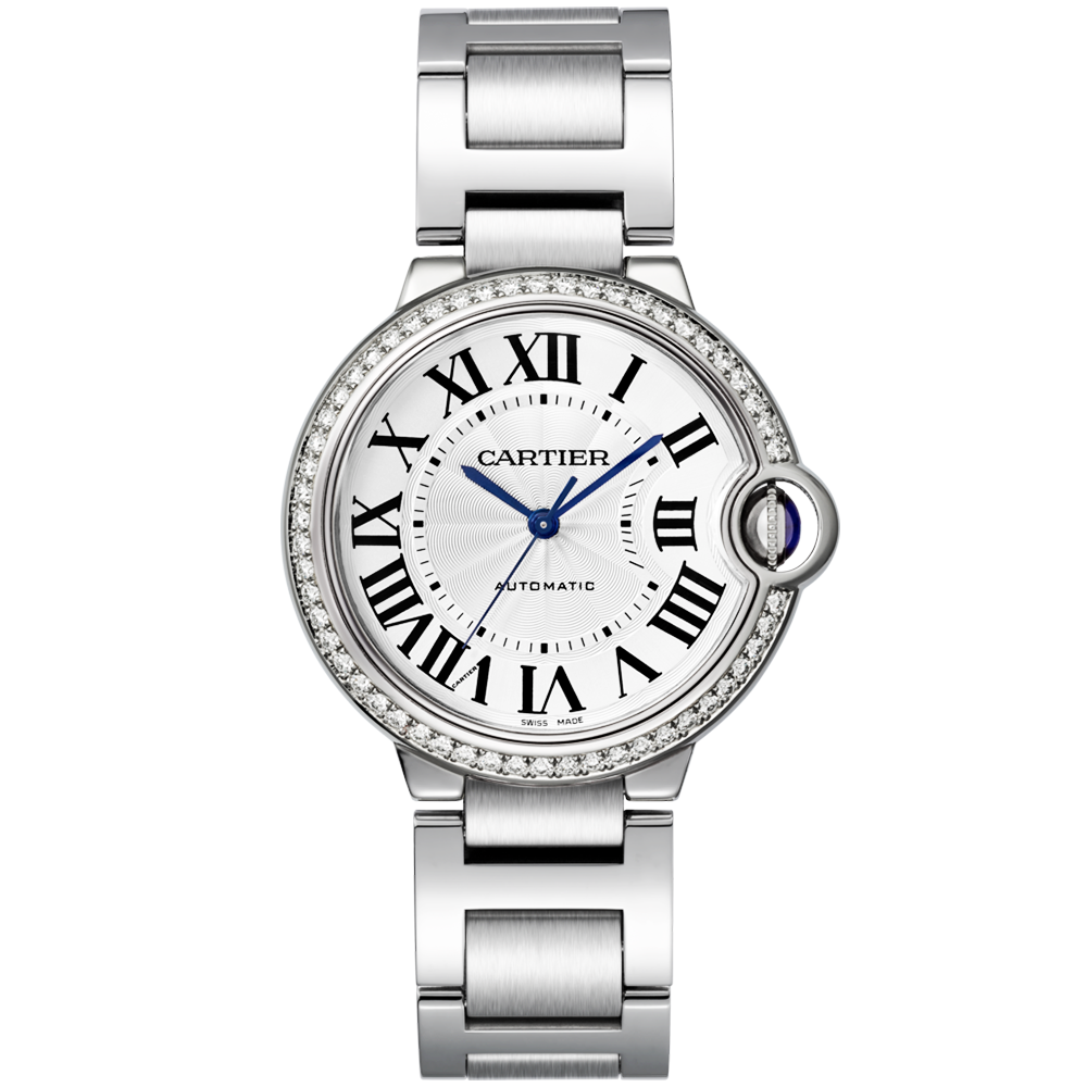 c3334fd1ab04 Cartier Ballon Bleu 36mm Steel   Diamond Set Bezel Ladies Watch