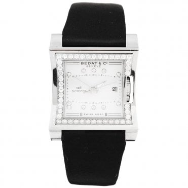No.1 Square Silver Diamond Dial & Bezel Ladies Strap Watch