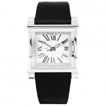 No.1 Square Silver Roman Dial Satin Strap Ladies Watch