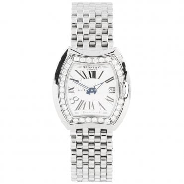No.3 33mm Silver Roman Dial & Diamond Set Bezel Ladies Watch