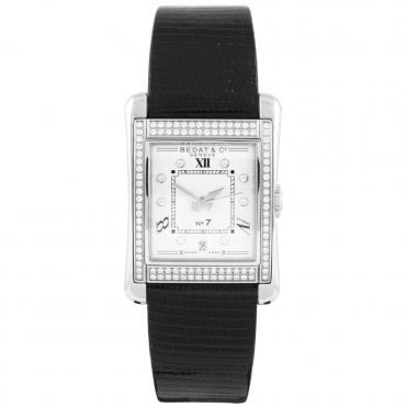 No.7 Silver Diamond Dial & Bezel Ladies Strap Watch
