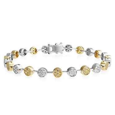 18ct Gold Yellow And White Diamond Bracelet