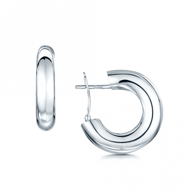 Berry's 18ct Polished White Gold Round Hoop Earrings