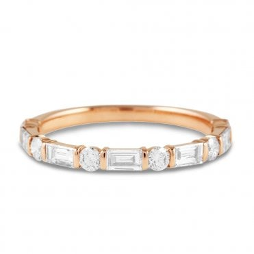 Berry's 18ct Rose Gold Baguette & Brilliant Cut Diamond Eternity Ring