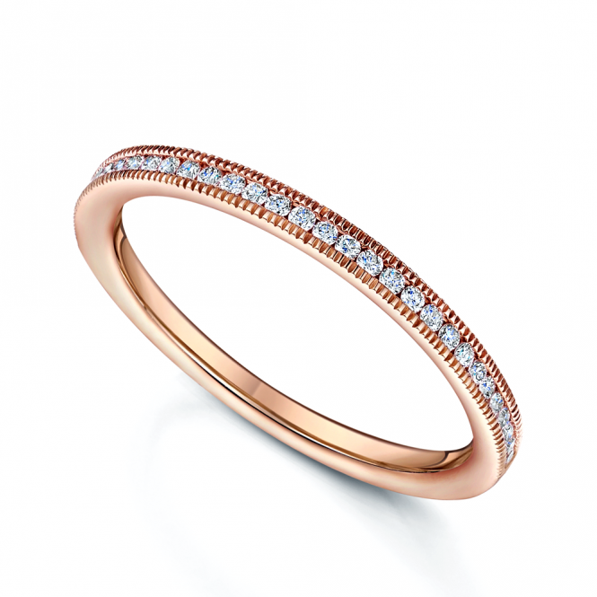 Berry's 18ct Rose Gold Channel Set Brilliant Cut Diamond Half Eternity Ring