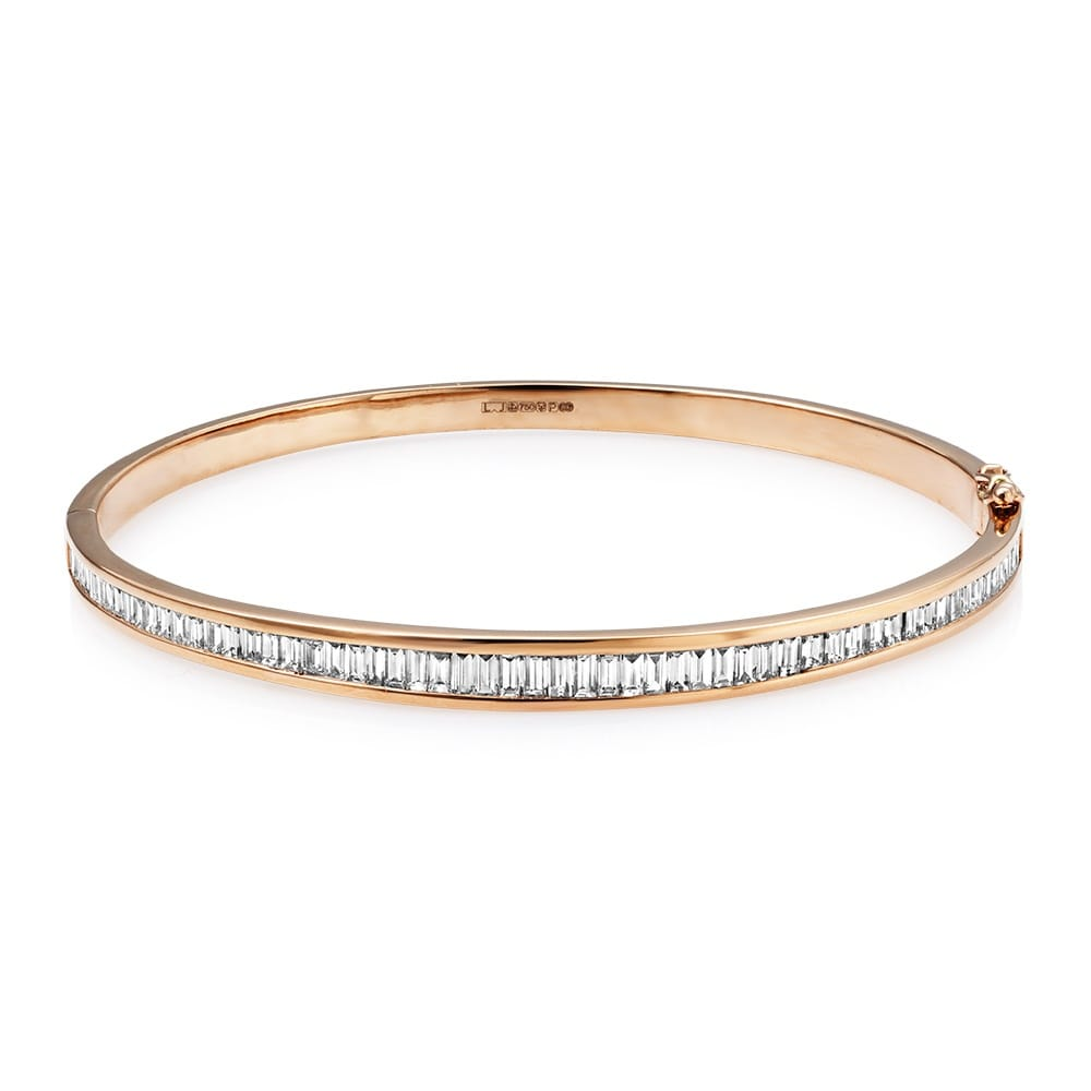 prong white bangles diamond gold hinged set bangle
