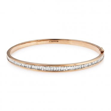 18ct Rose Gold Channel Set Diamond Bangle