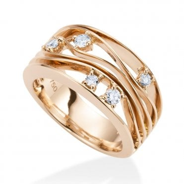 18ct Rose Gold Curved Five- Row Diamond Set Dress Ring