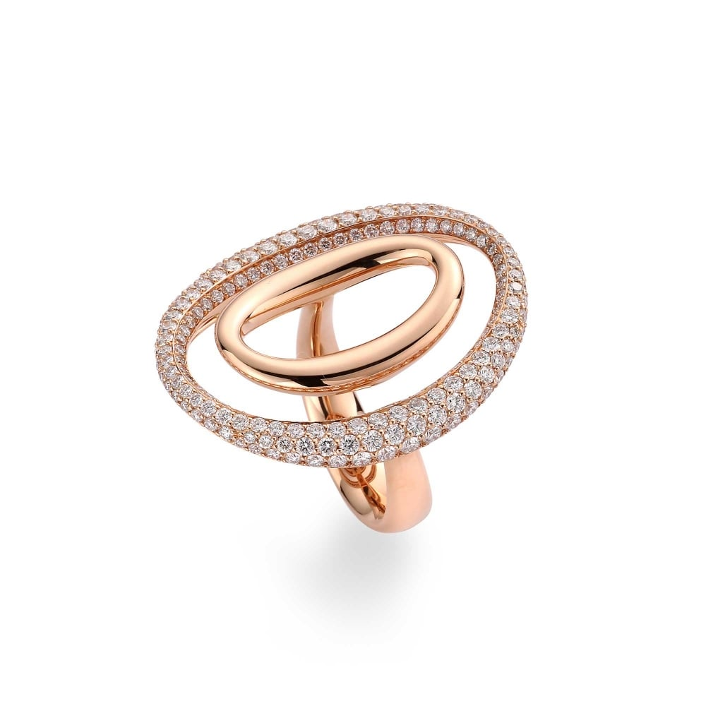 18ct Rose Gold Double Oval Diamond Ring From Berrys Jewellers