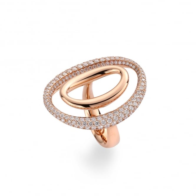Berry's 18ct Rose Gold Double Oval Diamond Ring