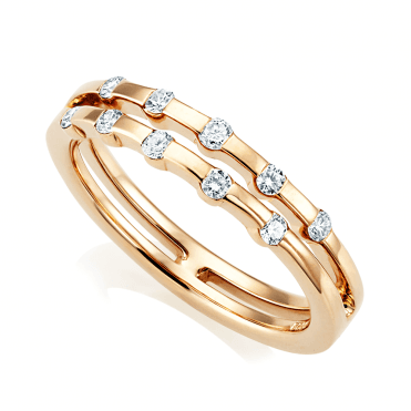 18ct Rose Gold Double Row Diamond Set Dress Ring