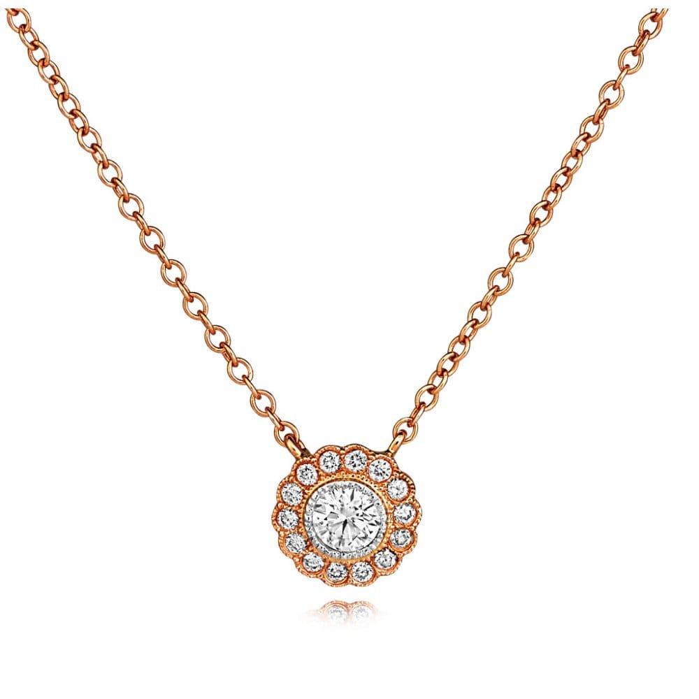 Berry's 18ct Rose Gold Flower Design Diamond Set Pendant