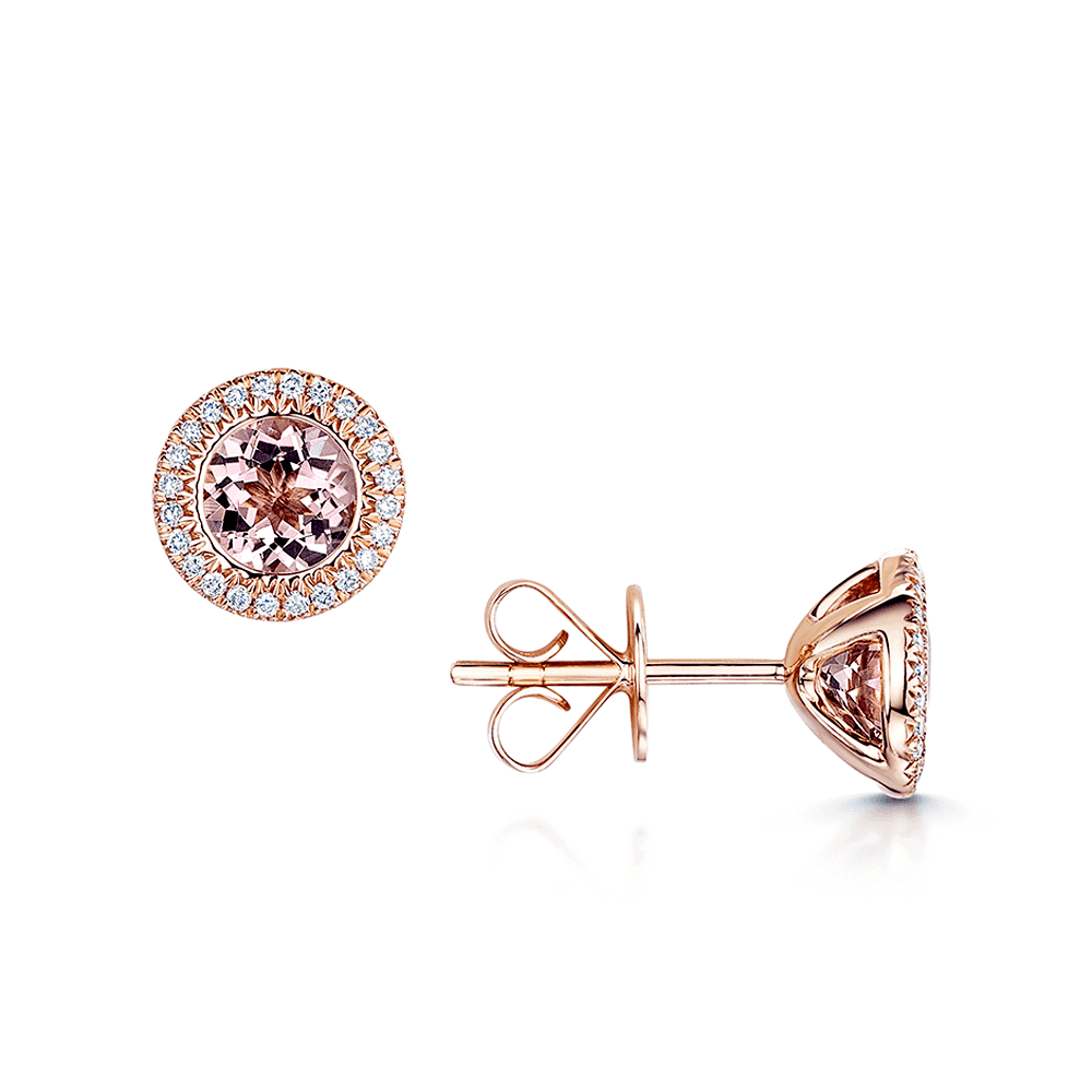 026421ae5 18ct Rose Gold Morganite & Diamond Stud Earrings