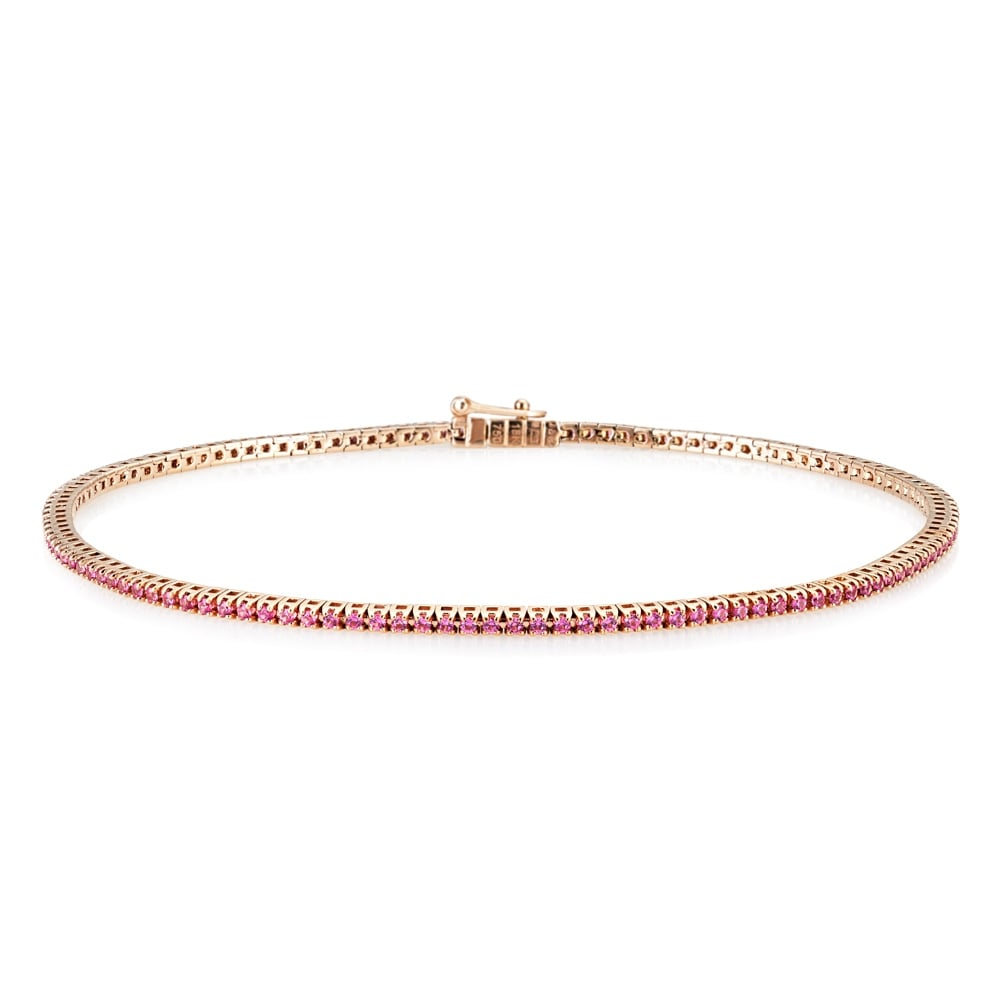 18ct Yellow Gold Pink Sapphire Bracelet KJEX-PS From Berry's