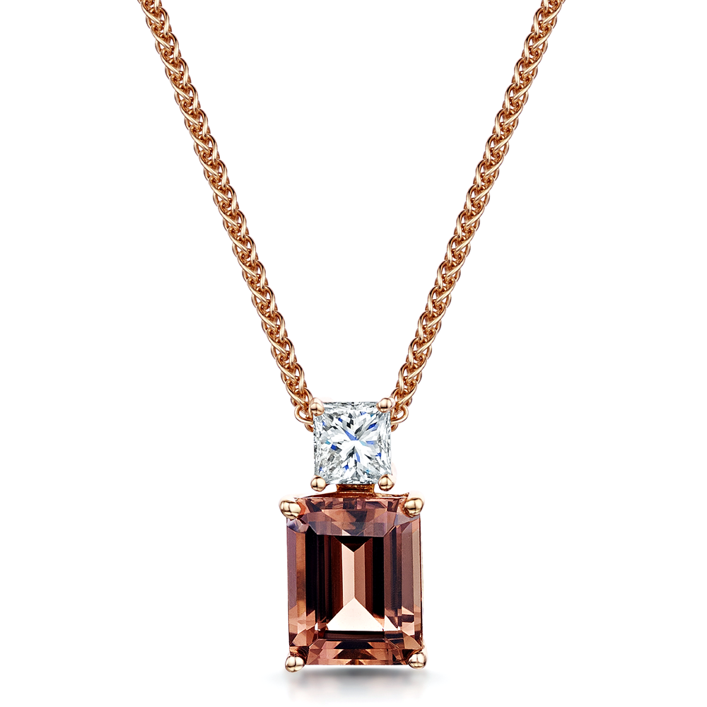 rose g necklace glitz gold ct h solitaire cut large diamond princess pendant design products to