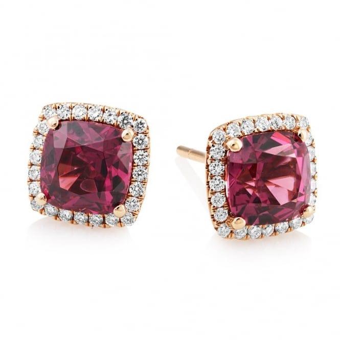 18ct Rose Gold Rhodolite Garnet Amp Diamond Stud Earrings