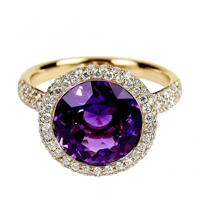 Berry S 18ct Rose Gold Round Amethyst Amp Diamond Dress Ring
