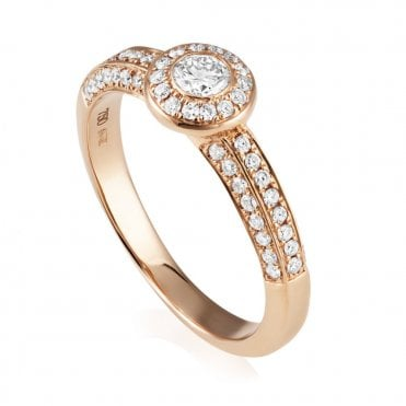 18ct Rose Gold Rubover Diamond Cluster Ring 0.84 Carat