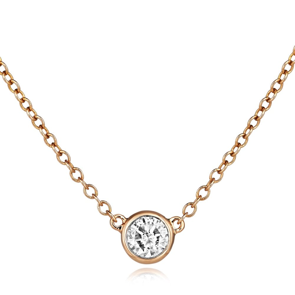 18ct Rose Gold Solitaire Diamond Necklace From Berry's ...
