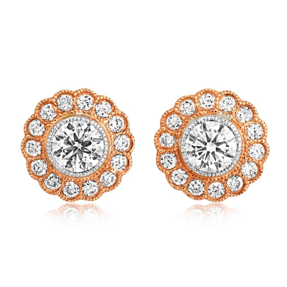 d91c8b382b84 Berry s 18ct Rose Gold Vintage Style Diamond Cluster Stud Earrings