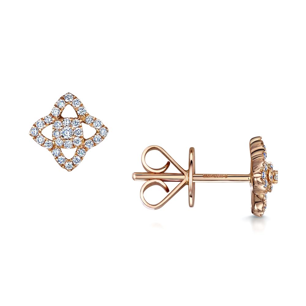 90f47c183 18ct Rose Gold Vintage Style Diamond Set Stud Earrings