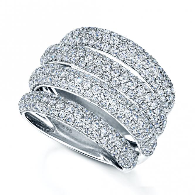 White Wedding Dress Gold Jewelry: 18ct White Gold 4 Row Pave Set Diamond Dress Ring LVA6222
