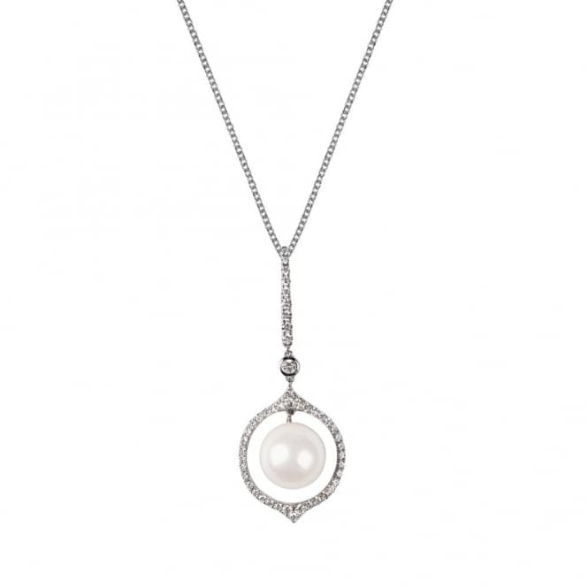 Berry's 18ct White Gold Akoya Pearl & Brilliant Cut Diamond Necklace