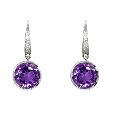 18ct White Gold Amethyst And Diamond Drop Earrings