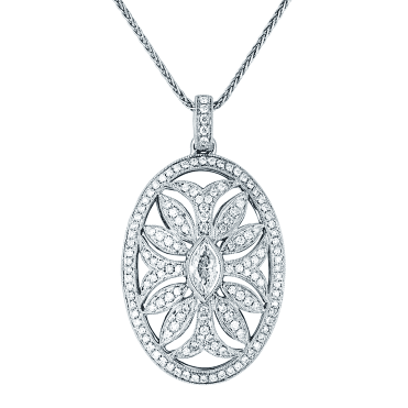 18ct White Gold and Diamond Floral Motif Open Pendant