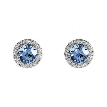 18ct White Gold Aquamarine & Diamond Cluster Earrings