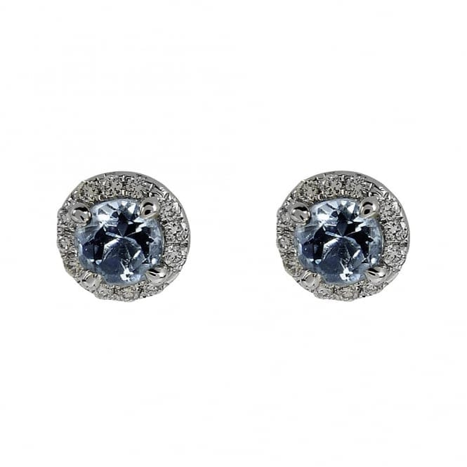 Berry's 18ct White Gold Aquamarine & Diamond Cluster Stud Earrings