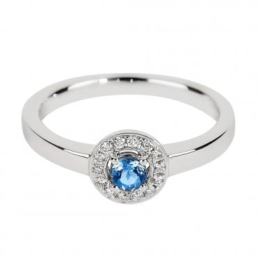 18ct White Gold Aquamarine & Diamond Surround Cluster Ring