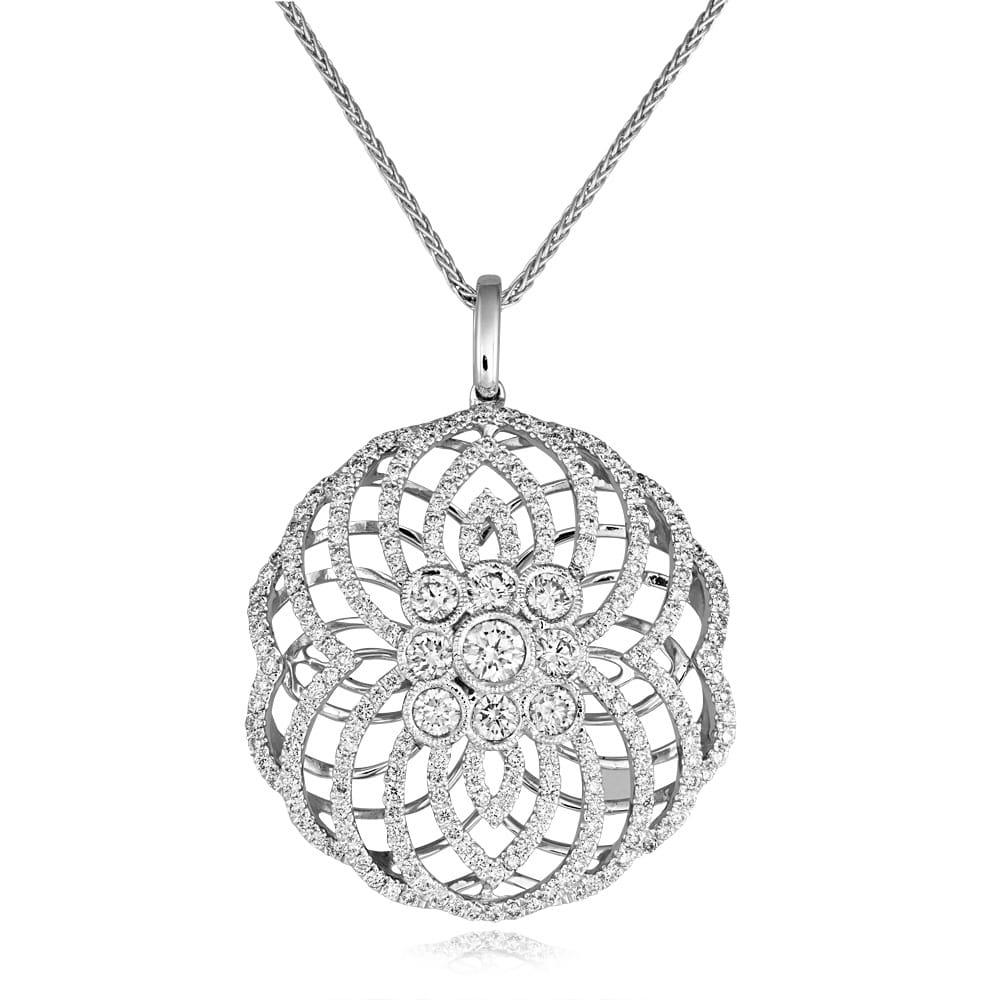 Berrys 18ct white gold art deco style diamond pendant 18ct white gold art deco style diamond pendant mozeypictures Choice Image
