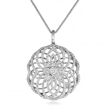 18ct White Gold Art Deco Style Diamond Pendant